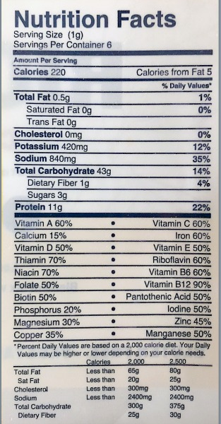 Million Meal Movement Rice Soy Nutrition Facts